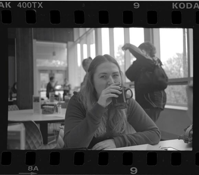 The stunning and beautiful Alison just sipping on some coffe